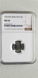 Malaya 5 Cents 1961KN NGC MS 64