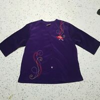 BonWorth Women's Button Down Shirt ~ Sz MP ~ Purple ~ Embroidered ~ Short Sleeve