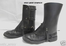 Swiss Army Leather Gaiters Black Original Surplus RARE Steampunk Vintage
