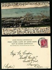 SOUTH AFRICA OLD POSTCARD/STAMP 1904-U.P.U-THE DOCKS CAPE TOWN-RARE