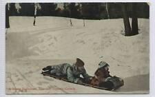 (w13a73-100) Toboggan Sledge in Rosedale, CANADA c1910 Unused VG
