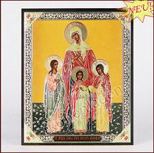 Ikone Vera, Nadejda, Lybov u. Sofia geweiht Holz 10x 12 icon Вера Надежда Любовь
