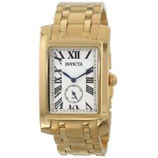 Men Invicta 14700 Cuadro Silver Dial Gold-Tone Swiss Black Numerics Watch
