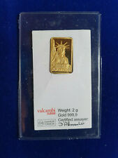 CREDIT SUISSE 2 g GRAM 999.9 GOLD BULLION BAR IN ASSAY CARD
