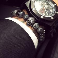 Charm Men Micro Zircon Gun Black Crown Skull Bracelet 8MM Natural Stone Beads