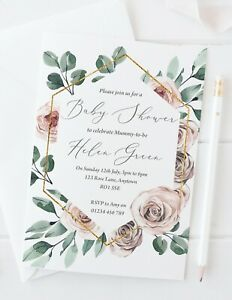 10 Personalised Baby Shower Invitations - Dusky Rose - Pink Blue or Yellow