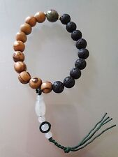 Buddhist Lava rock-Olive wood 10MM Wrist Mala with Ruby in Fuchsite