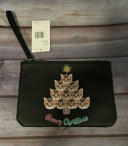 Betsey Johnson Meowy Christmas Black Cat Pouch Bag Wristlet Zip Closure New