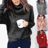 Women Solid Long Sleeve Turtleneck Knitted Sweater Jumper Pullover Top Blouse