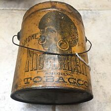 """Black Americana SMOKING OR CHEW TOBACCO TIN CAN MADE LATER 1800'S  6.5"""" X 5"""""""