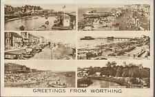 Worthing, W Sussex - multiview postcard by Wardell (AWW) c.1950s