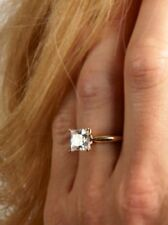 solid 14k yellow/white gold Solitaire diamond Princess cut engagement ring