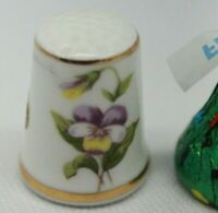 Hand Painted? Flower Thimble Bone China made in Japan White and gold Perfect!!