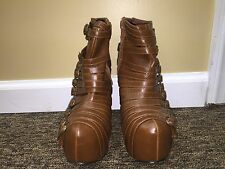 Urbanog.com women brown platform zip heels shoes faux leather size 7 pre-owned