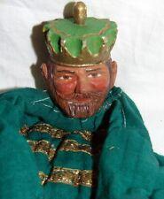 c1900 ancienne  marionnette TETE en  bois SCUTLPTEE **ROI  THE KING PUPPET