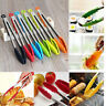 Kitchen Silicone Cooking Salad Serving BBQ Tongs Stainless Steel Handle Utensil