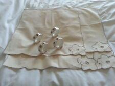 Set of 4 Cotton Napkins with 4 Ceramic Napkin Rings