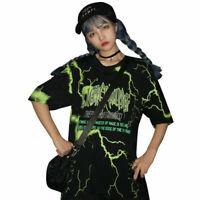 Harajuku Women Lightning Letter T-shirt Summer Short Sleeve O Neck Tee Tops
