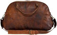 """Men's 16"""" Brown Vintage Genuine Leather Weekend Travel Luggage Duffle Gym Bags"""