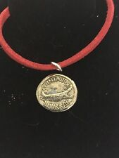 """Mark Antony Denarius Coin WC70  English Pewter On a 18"""" Red Cord Necklace"""