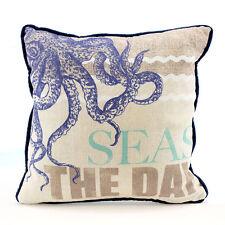 Octopus SEAS THE DAY Decorative Sofa Throw Pillow Nautical Beach Coastal Decor