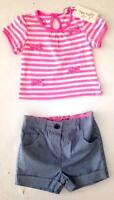 New baby girls smart pinstripe summer shorts top set age 6-9 9-12 12-18 18-24