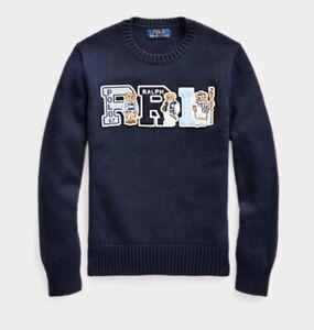 Polo Ralph Lauren Boys Navy POLO BEAR Pullover Sweater PRL Sz S, M, L, XL