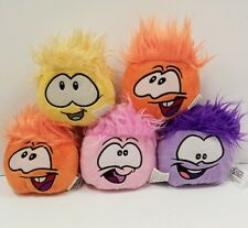 "LOT DISNEY CLUB PENGUIN PUFFLE 5"" PLUSH Stuffed BEAN BAG Smiley Toys Pink Orange"
