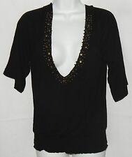 American Rag Women's Top Size S Black Knit Beaded Plunge Neck Waisted  Sexy