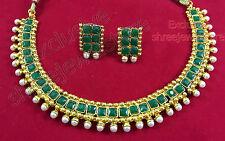 Designer Gold Plated Stones Diamond Kundan Necklace Earring Ethnic Jewellery Set