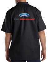 Ford Performance Logo American Auto Motors Cars Dickies Mechanic Work Shirt