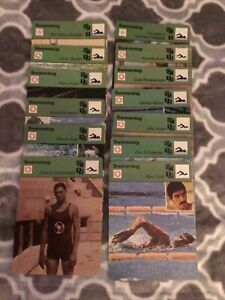 1977 SPORTSCASTER SWIMMING CARDS, 13 Cards Including Spitz