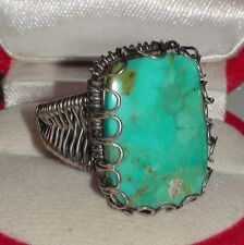 BIG! LARGE 25.00 ct NATURAL GEM  CHRYSOCOLLA  RING 925 STERLING SILVER.9.25