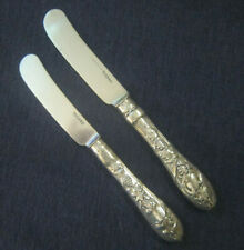 American coin silver C.BARD & SON grape pattern 2 butter knives set Philadelphia