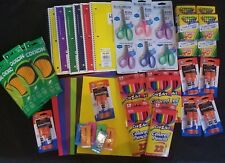 School Office Supplies Lot Notebooks Scissors Glue Folders Crayons Pencils 300