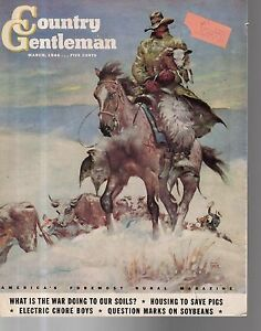1944 Country Gentleman March Cover - Bringing in snowbound cattle - New Mexico