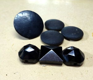 A Collection of Victorian Whitby Jet Round Button & Element & 3 Silk Buttons