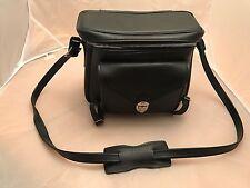 "Vintage UNBRANDED  Black CAMERA  Case 7"""" x 9 "" Gadget Bag WITH TRIPOD STRAP EC"