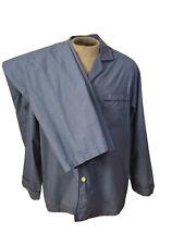 Brooks Brothers Men Cotton Pajama Set Button Top Pants Blue Check 2 Pc Large