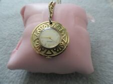 Vintage Wind Up Caravelle Necklace Pendant Watch with a Long Chain