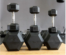 RUBBER HEX DUMBBELLS - SOLD IN PAIRS - ALL SIZES - [ ALL IN STOCK ] BRAND NEW