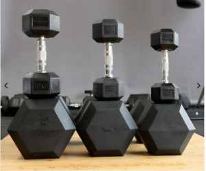 RUBBER HEX DUMBBELLS - SOLD IN PAIRS - ALL SIZES - [ PRE ORDER - OCTOBER ]