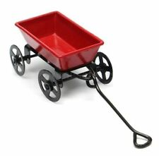 Dollhouse Miniature Metal Red Pull Cart With Wheels 1:12 Scale Fairy Garden