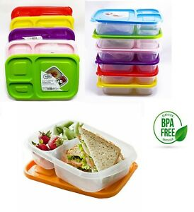 Bento Lunch Boxes Plastic Food Container Set Kids School Office 3-Compartment
