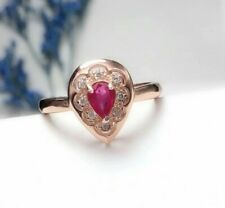 14k Rose Gold Natural Rpund Cut Diamond & Ruby Engagement Anniversary Women Ring
