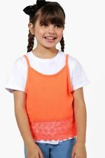 GIRLS TWO PART TOP OF WHITE T-SHIRT AND ORANGE VEST AGE 7-8 BNWT