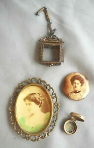 Antique MOURNING Photo Pin Button /Brooch VICTORIAN Locket, Empty Repair