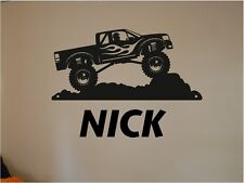 Monster Truck and Personalized Name Vinyl Wall Sticker Mural Girls Boys Room