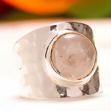 92.5 Sterling Silver Natural Rose Quartz Round Cab Ring Size US 6 Sb-153
