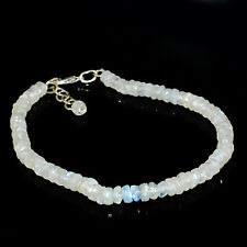 51.00 Cts Earth Mined Untreated Blue Flash Moonstone Round Cut Beads Bracelet